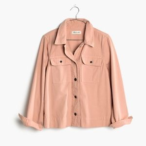 Madewell Northward Cropped Army Jacket in Pink